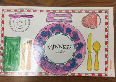 Learn table setting with placemat coloring sheet