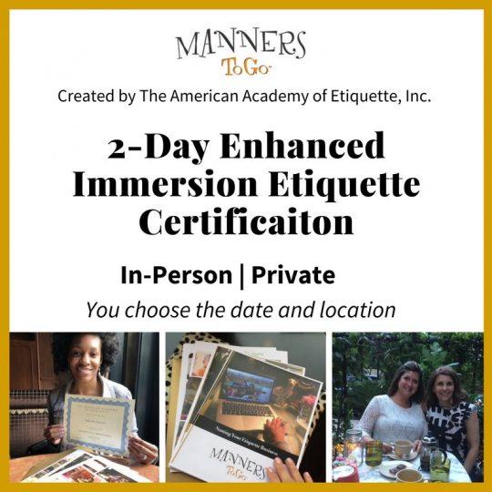 2 Day Etiquette Certificate Training