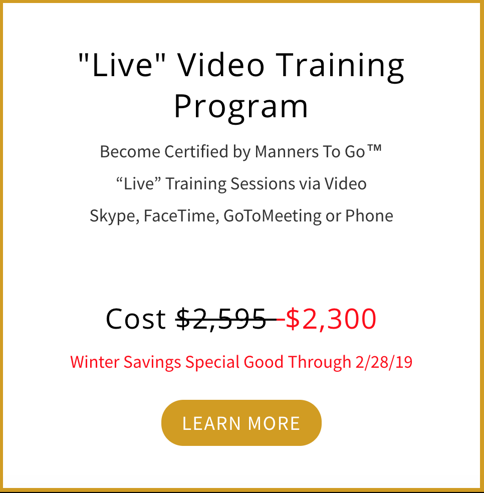 Manners To Go Live Video Certification Training